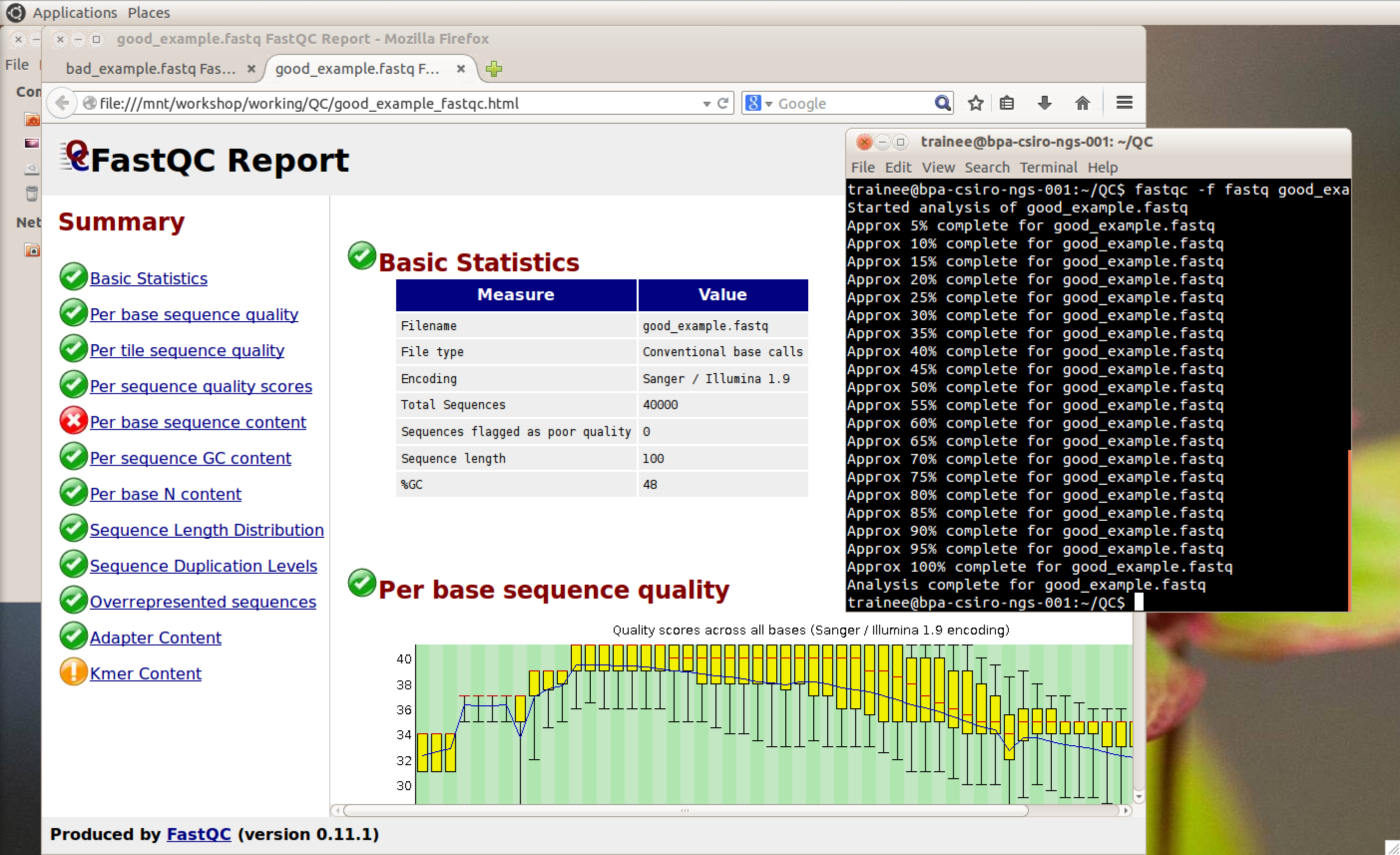 Sequence data quality analysis and visualisation using FastQC and FASTX-Toolkit.