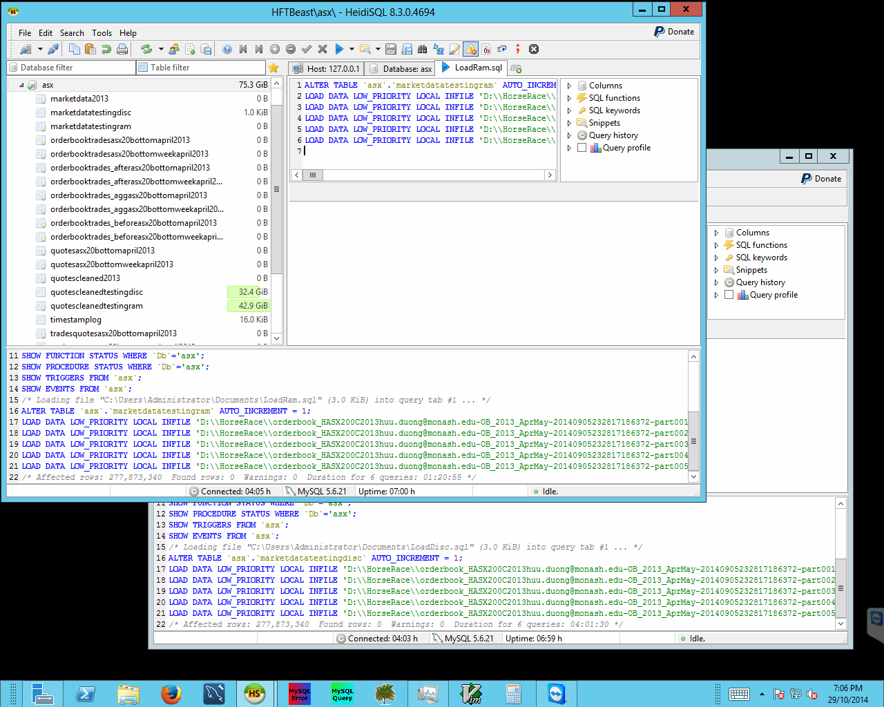 Ingestion of pre-processed data into the database running on the high-memory instance, for analysis.